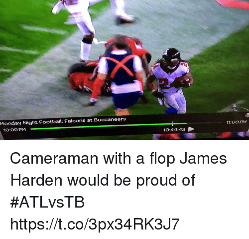 Football, James Harden, and Sports: Monday Night Football: Falcons at Buccaneers  10:00 PM  700 PM  10:44:43 Cameraman with a flop James Harden would be proud of #ATLvsTB https://t.co/3px34RK3J7