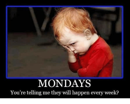 Your Telling Me: MONDAYS  You're telling me they will happen every week?