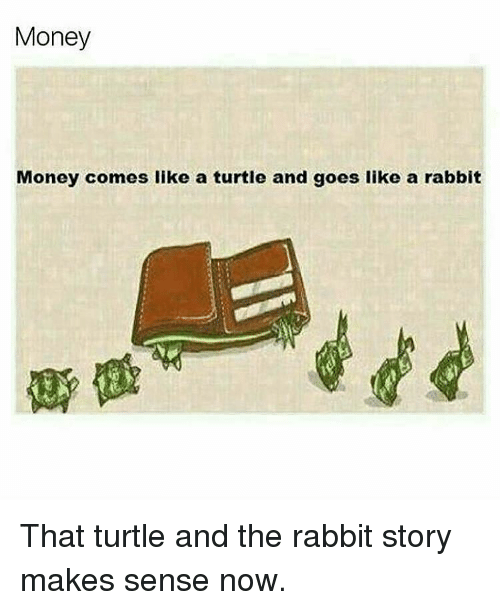 goe: Money  Money comes like a turtle and goes like a rabbit That turtle and the rabbit story makes sense now.