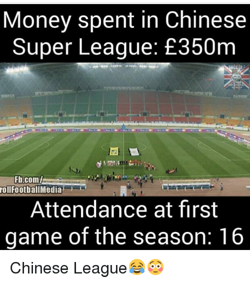 Memes, 🤖, and Super: Money spent in Chinese  Super League: E350m  Fb.com/  roll FootballMedia  Attendance at first  game of the season: 16 Chinese League😂😳