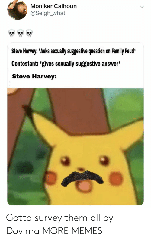 suggestive: Moniker Calhoun  @Seigh_what  e33  e33  e33  Steve Harvey: Asks sexually suggestive question on Family Feud  Contestant: 'gives sexually suggestive answer*  Steve Harvey: Gotta survey them all by Dovima MORE MEMES