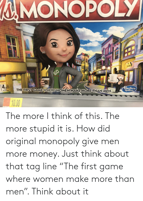 """patent: MONOPOLY  GO  PATENT  OFFICE  BOSS  THE FIRST GAME WHERE WOMEN MAKE MORE THAN MEN.  2-6  PLAYERS  Hasbro  Gaming  SO0-10.00  RETAIL PRICE  10.0 The more I think of this. The more stupid it is. How did original monopoly give men more money. Just think about that tag line """"The first game where women make more than men"""". Think about it"""