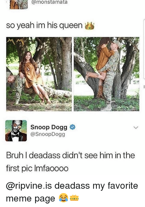 Bruh, Funny, and Meme: @monstamata  so yeah im his queen  Snoop Dogg  @SnoopDogg  Bruh I deadass didn't see him in the  first pic Imfaooo0 @ripvine.is deadass my favorite meme page 😂👑