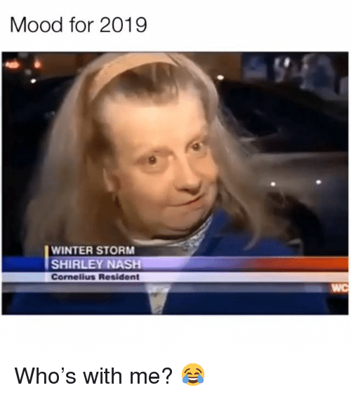 winter storm: Mood for 2019  WINTER STORM  SHIRLEY NASH  Cornelius Resident  WC Who's with me? 😂