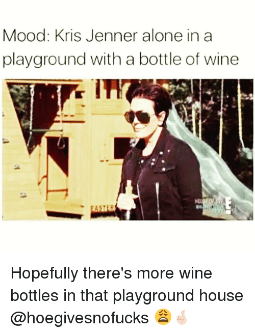 Funny, Kris Jenner, and Wine: Mood: Kris Jenner alone in a  playground with a bottle of wine  BR Hopefully there's more wine bottles in that playground house @hoegivesnofucks 😩🤞🏻