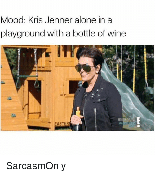 Being Alone, Funny, and Kris Jenner: Mood: Kris Jenner alone in a  playground with a bottle of wine  BR SarcasmOnly