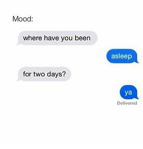 Memes, Mood, and Been: Mood:  where have you been  for two days?  asleep  ya  Delivered