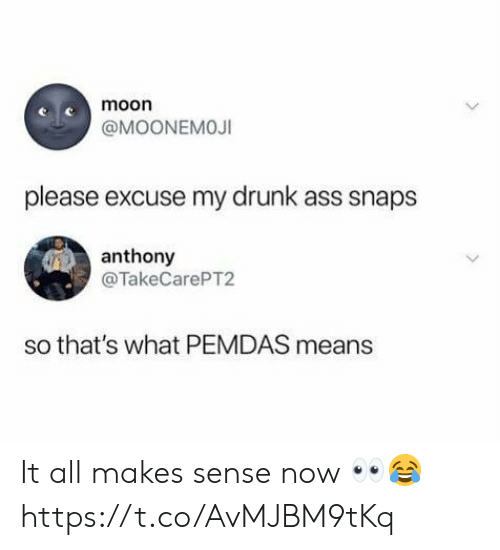 It All Makes Sense: moon  @MOONEMOJI  please excuse my drunk ass snaps  anthony  @TakeCarePT2  so that's what PEMDAS means It all makes sense now 👀😂 https://t.co/AvMJBM9tKq
