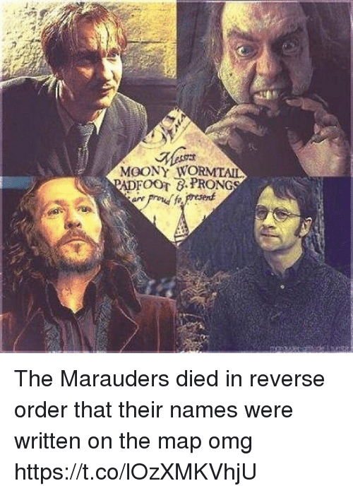 Memes, Omg, and 🤖: MOONY WORMTAIL The Marauders died in reverse order that their names were written on the map omg https://t.co/lOzXMKVhjU