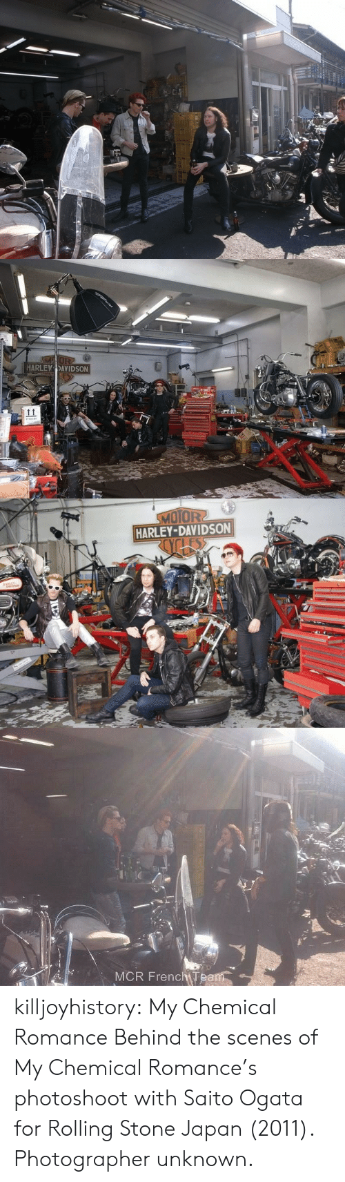 scenes: MOR  HARLEY DAVIDSON   MOTOR2  HARLEY-DAVIDSON  os   MCR FrenchTeam killjoyhistory:  My Chemical Romance Behind the scenes of My Chemical Romance's photoshoot with Saito Ogata for Rolling Stone Japan (2011). Photographer unknown.