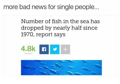 Bad, News, and Fish: more bad news for single people.  Number of fish in the sea has  dropped by nearly half since  1970, report says  4.8k  SHARES