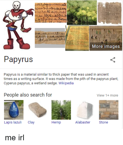 Wikipedia, Images, and Search: More images  Papyrus  Papyrus is a material similar to thick paper that was used in ancient  times as a writing surface. It was made from the pith of the papyrus plant,  Cyperus papyrus, a wetland sedge. Wikipedia  People also search for  View 1+ more  Hemp  Alabaster Stone  Lapis lazuli Clay