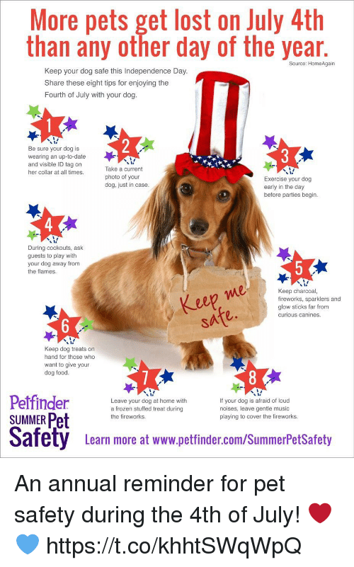 glow sticks: More pets get lost on July 4th  than any other day of the year  Source: HomeAgain  Keep your dog safe this Independence Day.  Share these eight tips for enjoying the  Fourth of July with your dog.  Be sure your dog is  wearing an up-to-date  and visible ID tag on  her collar at all times.  Take a current  photo of your  dog, just in case.  Exercise your dog  early in the day  before parties begin  4  During cookouts, ask  guests to play with  your dog away from  the flames  e0  Keep charcoal,  fireworks, sparklers and  glow sticks far from  curious canines.  eep me  sate.  Keep dog treats on  hand for those who  want to give your  dog food.  y s  Petfinder  SUMMER Pet  Leave your dog at home with  a frozen stuffed treat during  the fireworks.  If your dog is afraid of loud  noises, leave gentle music  playing to cover the fireworks.  Safety  afety  Leam more at www.pettinder.com/SummerPetsSatoty  Learn more at www.petfinder.com/SummerPetSafety An annual reminder for pet safety during the 4th of July! ❤️💙 https://t.co/khhtSWqWpQ