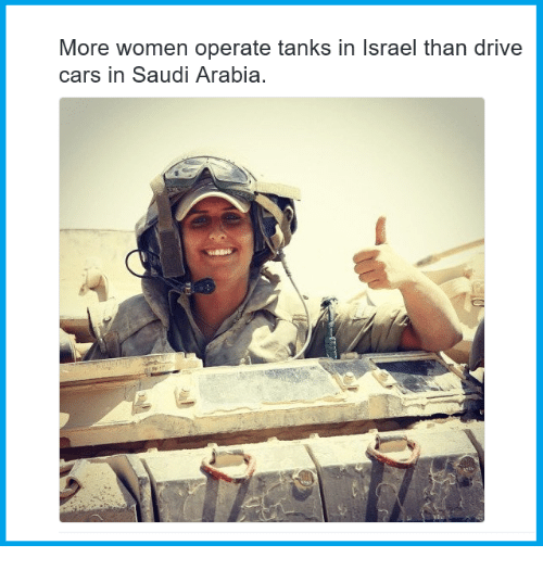 Cars, Memes, and Drive: More women operate tanks in Israel than drive  cars in Saudi Arabia.