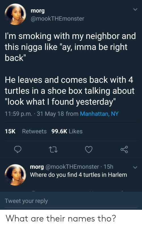 """Look What I Found: morg  @mookTHEmonster  I'm smoking with my neighbor and  this nigga like """"ay, imma be right  back  He leaves and comes back with 4  turtles in a shoe box talking about  """"look what I found yesterday  11:59 p.m. 31 May 18 from Manhattan, NY  15K Retweets 99.6K Likes  morg @mookTHEmonster 15h  Where do you find 4 turtles in Harlem  Tweet your reply What are their names tho?"""