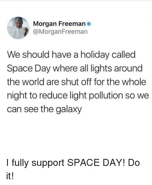 freeman: Morgan Freeman e  @MorganFreeman  We should have a holiday called  Space Day where all lights around  the world are shut off for the whole  night to reduce light pollution so we  can see the galaxy I fully support SPACE DAY! Do it!