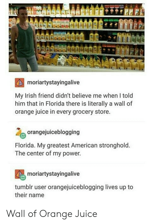 stronghold: moriartystayingalive  My Irish friend didn't believe me when I told  him that in Florida there is literally a wall of  orange juice in every grocery store  orangejuiceblogging  Florida. My greatest American stronghold  The center of my power  moriartystayingalive  tumblr user orangejuiceblogging lives up to  their name Wall of Orange Juice