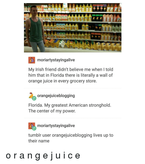 Irish, Stay Alive, and Trendy: moriartystayingalive  My Irish friend didn't believe me when l told  him that in Florida there is literally a wall of  orange juice in every grocery store.  orangejuiceblogging  Florida. My greatest American stronghold.  The center of my power.  moriarty staying alive  tumblr user orangejuiceblogging lives up to  their name o r a n g e j u i c e