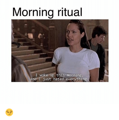 Memes, 🤖, and Ritual: Morning ritual  I woke up this morning,  and I just hated everything 😏