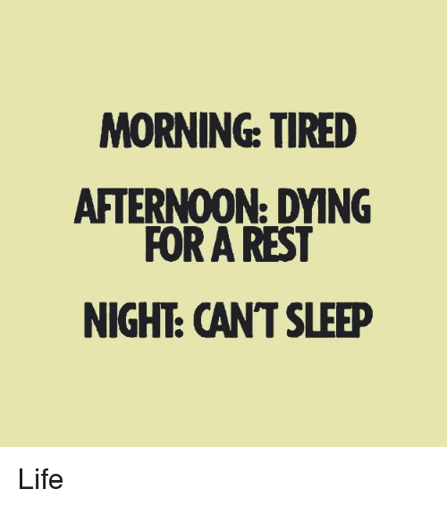 Life, Memes, and Sleep: MORNING: TIRED  AFTERNOON: DYING  FOR A REST  NIGHE CANT SLEEP Life