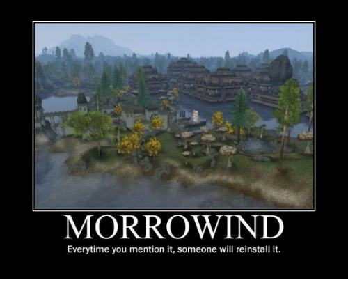 morrowind: MORROWIND  Everytime you mention it, someone will reinstall it.