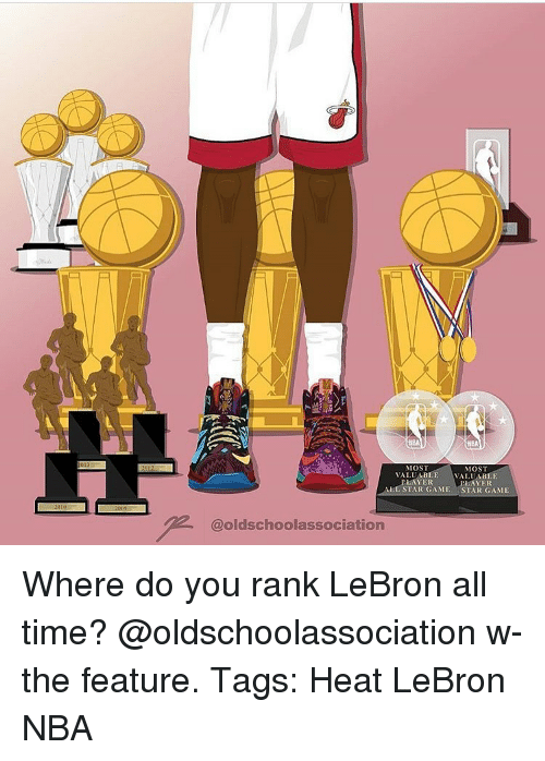 All Star, Memes, and All Star Game: MOS  MOST  VALUABLE VALUABLE  PLAYER  ALL STAR GAME STAR GAME  @oldschoolassociation Where do you rank LeBron all time? @oldschoolassociation w- the feature. Tags: Heat LeBron NBA