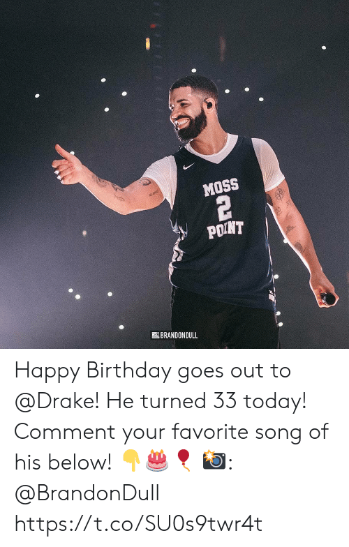 favorite song: MOSS  POINT  BRANDONDULL Happy Birthday goes out to @Drake! He turned 33 today! Comment your favorite song of his below! 👇🎂🎈  📸: @BrandonDull https://t.co/SU0s9twr4t