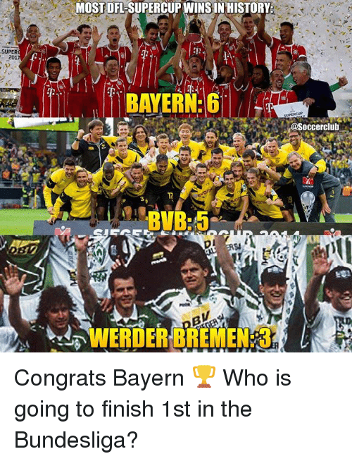 Werder: MOST DFL-SUPERCUP WINS IN HISTORY  SUPER  201  nd  BAYERN G  @Soccerclub  1T  3  WERDER BREMEN: 3. Congrats Bayern 🏆 Who is going to finish 1st in the Bundesliga?