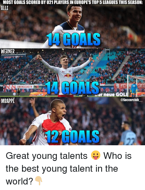 Memes, 🤖, and Top: MOST GOALSSCORED BYU21 PLAYERS IN EUROPE'S TOP 5LEAGUES THIS SEASON:  ALLI  MATCOALS  WERNER  neue  MBAPPE  asoccerclub Great young talents 😛 Who is the best young talent in the world?👇🏼