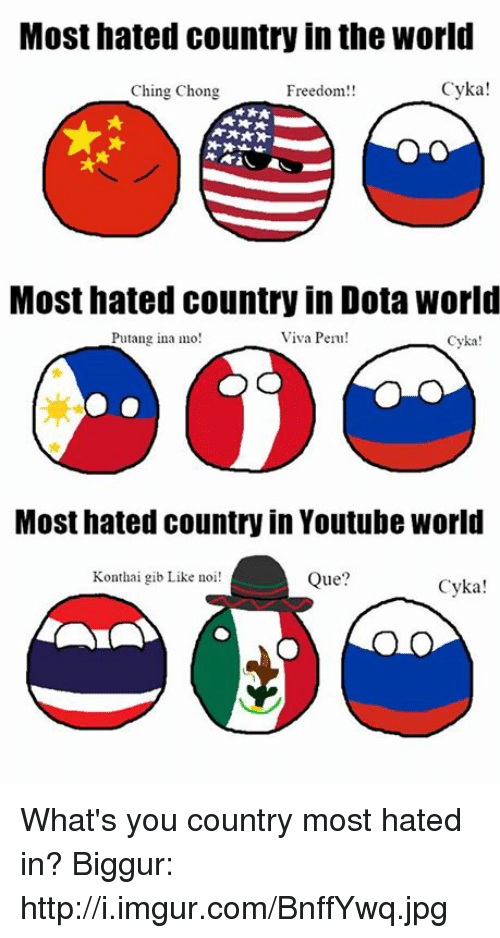 Cykas: Most hated country in the World  Cyka!  Ching Chong  Freedom!!  Most hated country in Dota world  Viva Peru!  Putang ina mo  Cyka!  Most hated country in Youtube World  Konthai gib Like noi!  Que  Cyka! What's you country most hated in? Biggur: http://i.imgur.com/BnffYwq.jpg