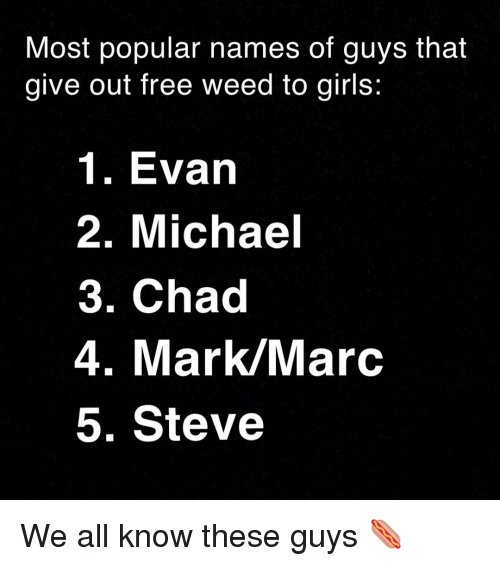 names of: Most popular names of guys that  give out free weed to girls:  1. Evarn  2. Michael  3. Chad  4. Mark/Marc  5. Steve We all know these guys 🌭