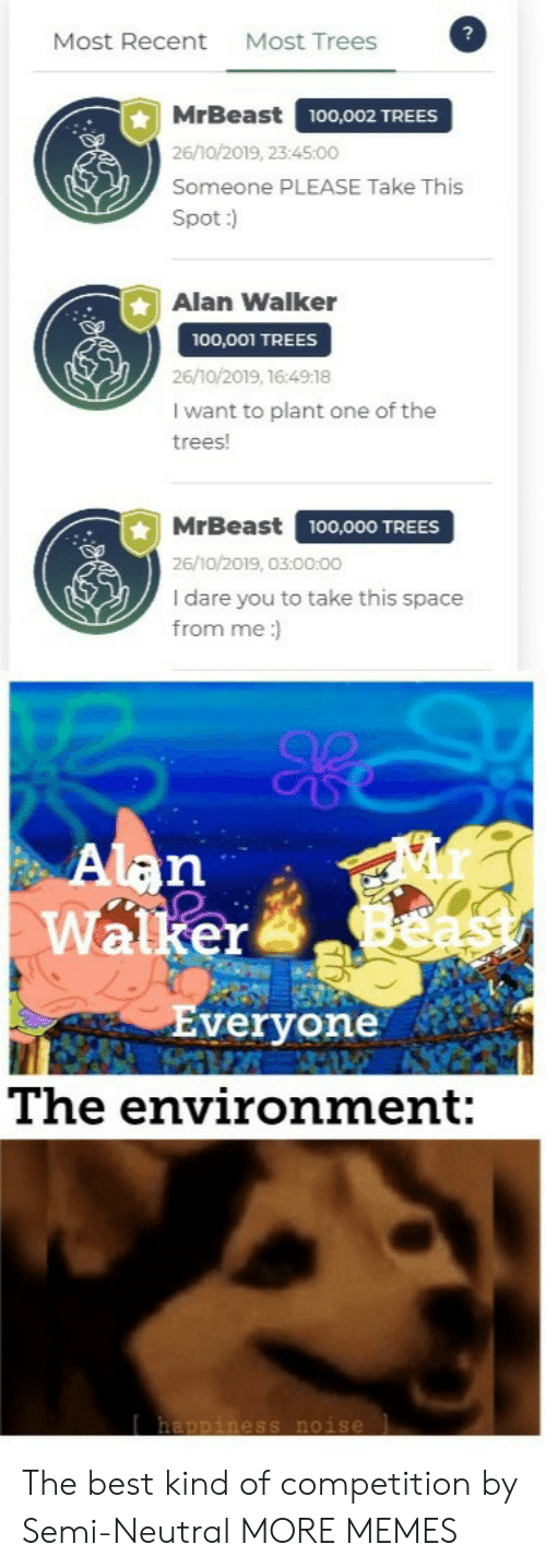 alan: Most Trees  Most Recent  MrBeast  100,002 TREES  26/10/2019, 23:45:00  Someone PLEASE Take This  Spot:)  Alan Walker  100,001 TREES  26/10/2019, 16:4918  I want to plant one of the  trees!  MrBeast  100,000 TREES  26/10/2019, 03:00:00  I dare you to take this space  from me:  Alan  Walker  Everyone  The environment:  happiness noise The best kind of competition by Semi-Neutral MORE MEMES