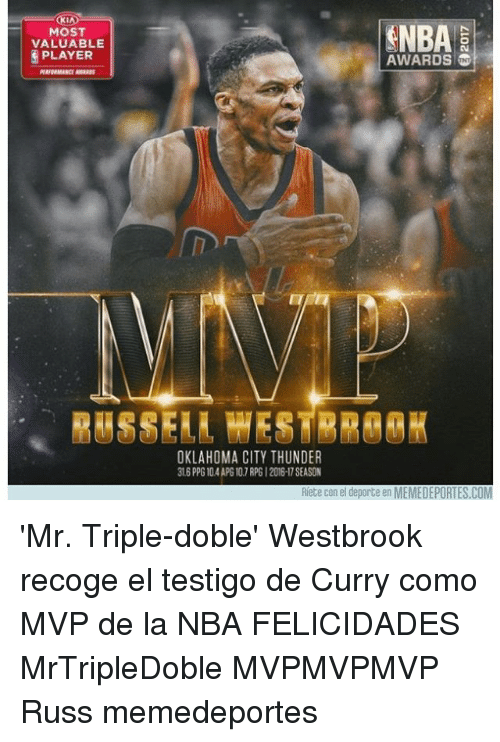 Memes, Nba, and Oklahoma City Thunder: MOST  VALUABLE  PLAYER  SNBA  AWARDS  RASSERA HESTRA@RK  OKLAHOMA CITY THUNDER  316 PPG 10.4 APG107 RPG 1 2016-17 SEASON  Riete con el deporte en MEMEDEPORTES.COM 'Mr. Triple-doble' Westbrook recoge el testigo de Curry como MVP de la NBA FELICIDADES MrTripleDoble MVPMVPMVP Russ memedeportes