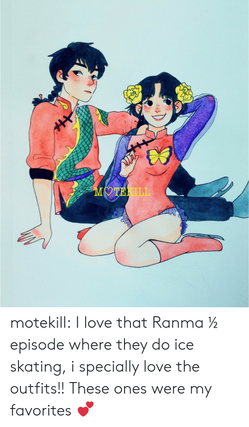 outfits: MOTEKILL motekill:  I love that Ranma ½ episode where they do ice skating, i specially love the outfits!! These ones were my favorites 💕