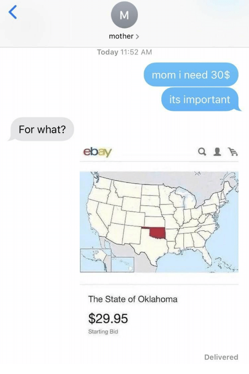 eBay: mother>  Today 11:52 AM  mom i need 30$  its important  For what?  ebay  The State of Oklahoma  $29.95  Starting Bid  Delivered