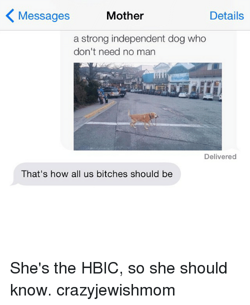 Dogs: Mother  Details  Messages  a strong independent dog who  don't need no man  Delivered  That's how all us bitches should be She's the HBIC, so she should know. crazyjewishmom