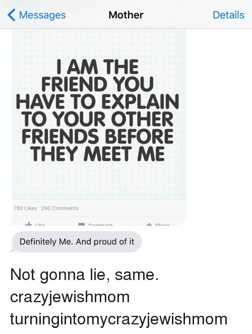 Motheres: Mother  Messages  I AM THE  FRIEND YOU  HAVE TO EXPLAIN  TO YOUR OTHER  FRIENDS BEFORE  THEY MEET ME  780 Likes 290 Comments  I ilin  Definitely Me. And proud of it  Details Not gonna lie, same. crazyjewishmom turningintomycrazyjewishmom