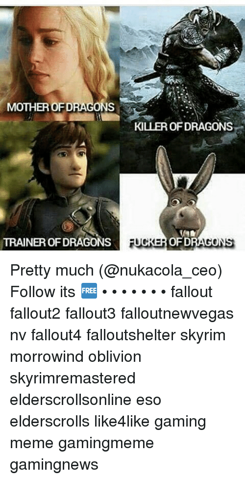 Gaming Meme: MOTHER OFDRAGONS  TRAINER OFDRAGONS  KILLER OFDRAGONS  OFD  UCK  DRAGONS Pretty much (@nukacola_ceo) Follow its 🆓 • • • • • • • fallout fallout2 fallout3 falloutnewvegas nv fallout4 falloutshelter skyrim morrowind oblivion skyrimremastered elderscrollsonline eso elderscrolls like4like gaming meme gamingmeme gamingnews