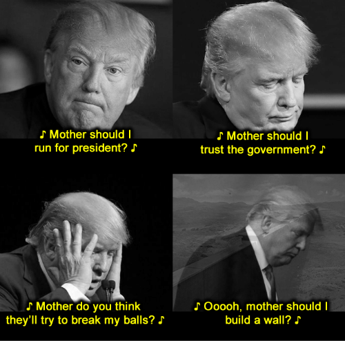 Should I Run: Mother should I  run for president?  Mother do you think  they'll try to break my balls?  Mother should I  trust the government? J  Ooooh, mother should I  build a wall?
