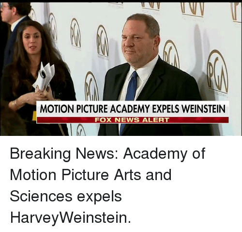 Memes, News, and Academy: MOTION PICTURE ACADEMY EXPELS WEINSTEIN  FOX NEWS ALERT Breaking News: Academy of Motion Picture Arts and Sciences expels HarveyWeinstein.