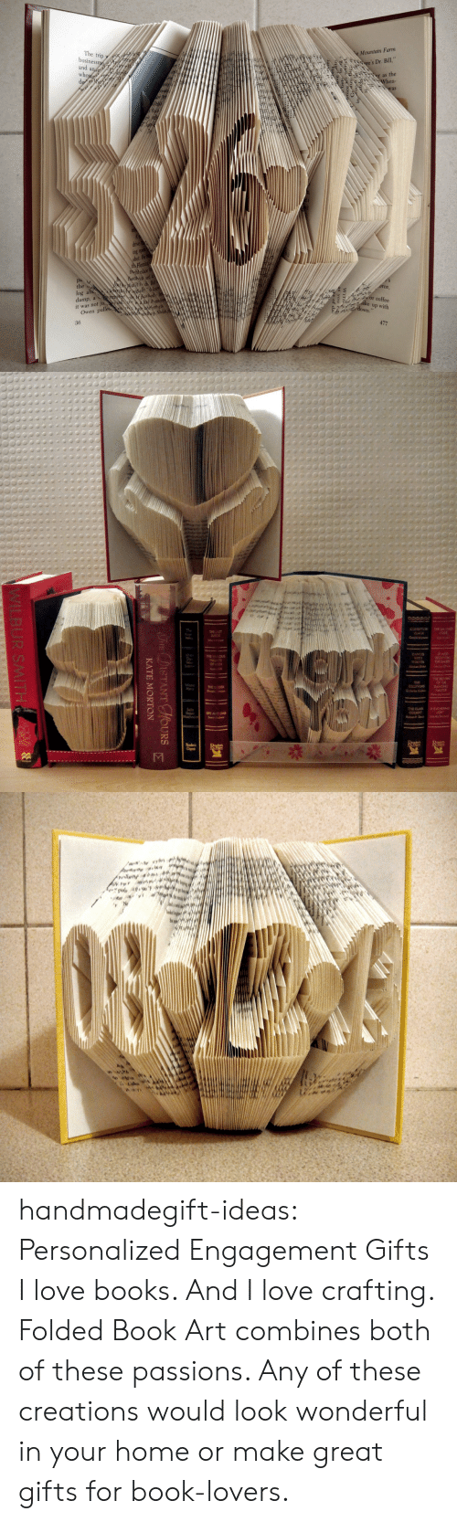 """Book Lovers: Mountain Farm  'sDr. Bill""""  as the  The trip  usiness  and a  en-  ing  He  the  log ab  damp, a  it was not ju.  ally  r coffee  down uP with  Owen pulle  36   ISTANT HOURS  KATE MORTON  WILBUR SMITH handmadegift-ideas:     Personalized Engagement Gifts     I love books. And I love crafting. Folded Book Art combines both of these passions. Any of these creations would look wonderful in your home or make great gifts for book-lovers."""