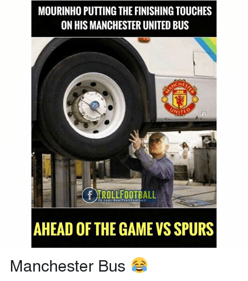 Memes, Manchester United, and fb.com: MOURINHO PUTTING THE FINISHING TOUCHES  ON HIS MANCHESTER UNITED BUS  CHE  fb.com/RealTrollFootball  AHEAD OFTHE GAME VS SPURS Manchester Bus 😂