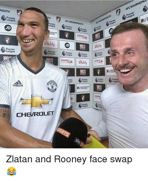 Memes, Face Swap, and Chevrolet: MOUTH  ad dos  CHEVROLET  BUts Zlatan and Rooney face swap 😂