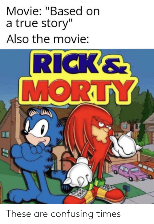 """rick morty: Movie: """"Based on  a true story""""  Also the movie:  RICK&  MORTY  000 These are confusing times"""