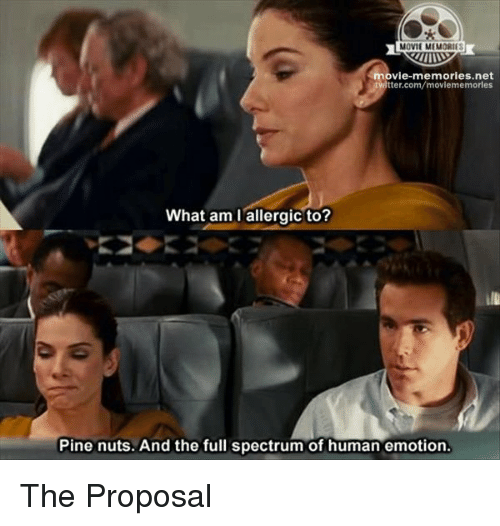 the proposal: MOVIE MEMORIE  movie-memories net  tter.com/moviememorles  What am I allergic to?  Pine nuts. And the full spectrum of human emotion. The Proposal