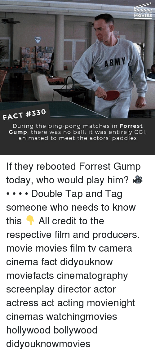 No Balls: MOVIES  ARMY  FACT #330  During the ping-pong matches in Forrest  Gump, there was no ball; it was entirely CGI  animated to meet the actors' paddles If they rebooted Forrest Gump today, who would play him? 🎥 • • • • Double Tap and Tag someone who needs to know this 👇 All credit to the respective film and producers. movie movies film tv camera cinema fact didyouknow moviefacts cinematography screenplay director actor actress act acting movienight cinemas watchingmovies hollywood bollywood didyouknowmovies