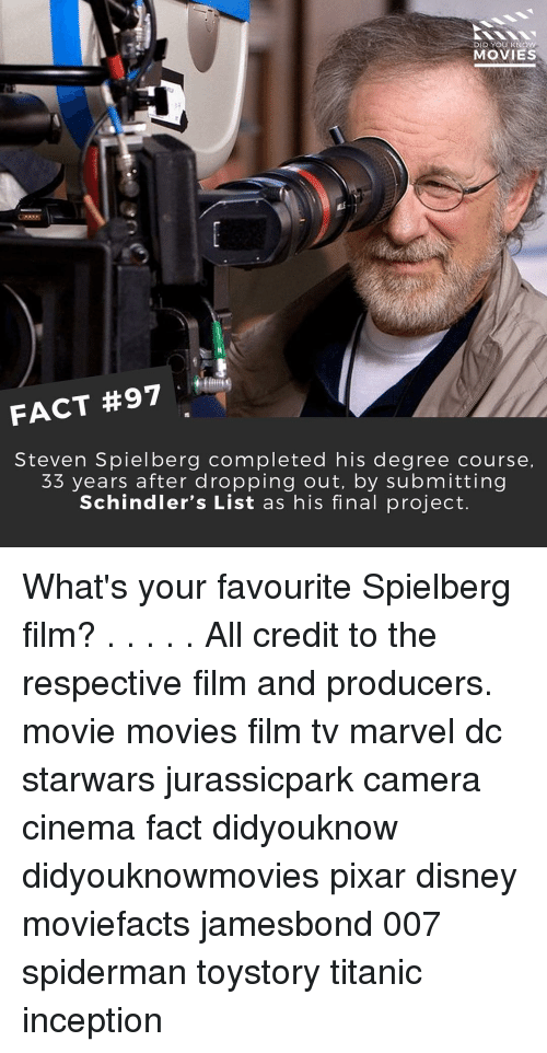 Disney, Inception, and Memes: MOVIES  FACT #97  Steven Spielberg completed his degree course,  33 years after dropping out, by submitting  Schindler's List as his final project. What's your favourite Spielberg film? . . . . . All credit to the respective film and producers. movie movies film tv marvel dc starwars jurassicpark camera cinema fact didyouknow didyouknowmovies pixar disney moviefacts jamesbond 007 spiderman toystory titanic inception