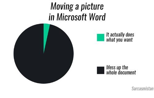 Memes, Microsoft, and Microsoft Word: Moving a picture  in Microsoft Word  It actually does  what you want  Mess up the  Whole document  Sarcasmistan