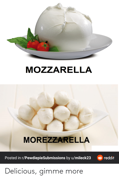 gimme more: MOZZARELLA  MOREZZARELLA  reddit  Posted in r/PewdiepieSubmissions by u/mileck23 Delicious, gimme more