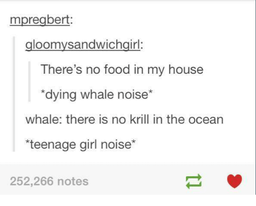 teenage girl: mpregbert  gloomysandwichgirl:  There's no food in my house  dying whale noise  whale: there is no krill in the ocean  teenage girl noise*  252,266 notes